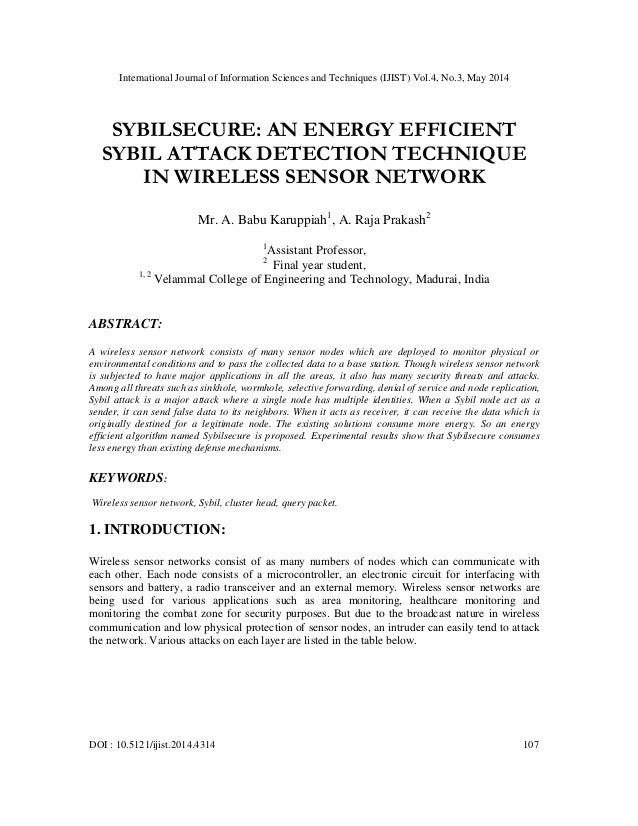 Sybilsecure an energy efficient