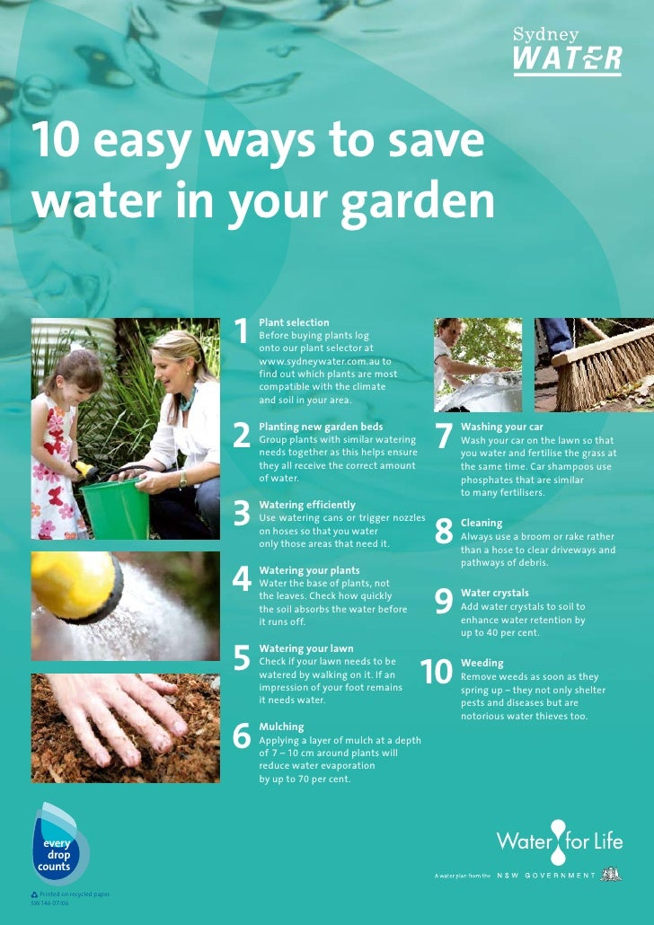 10 easy ways to save water in your garden for Top 10 ways to conserve water