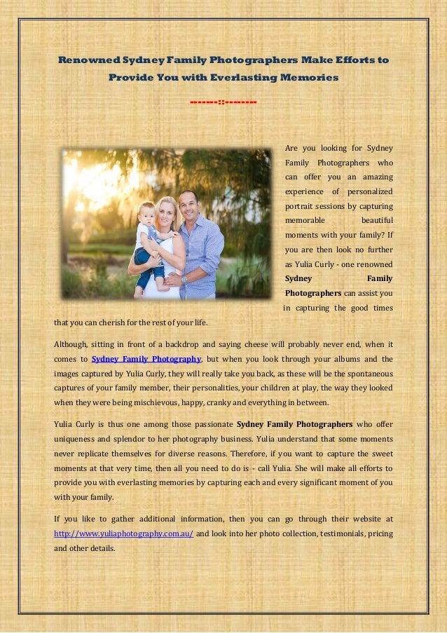 Sydney Family Photographers Make Efforts to Provide You with Everlasting Memories