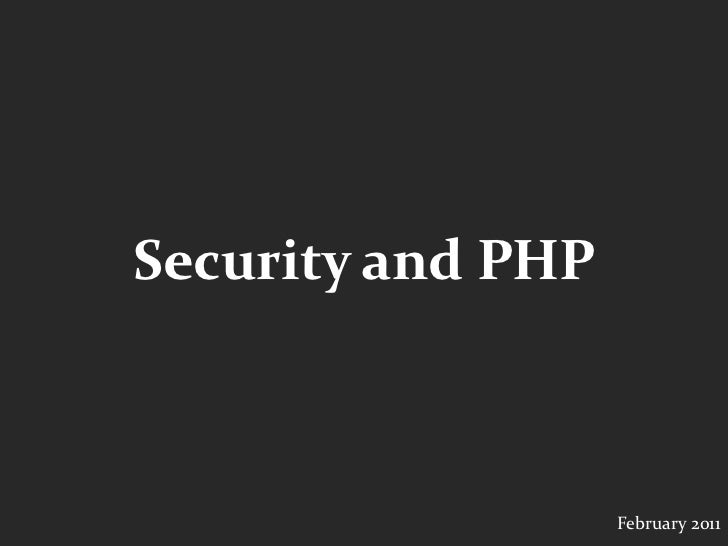 SydPHP Security in PHP