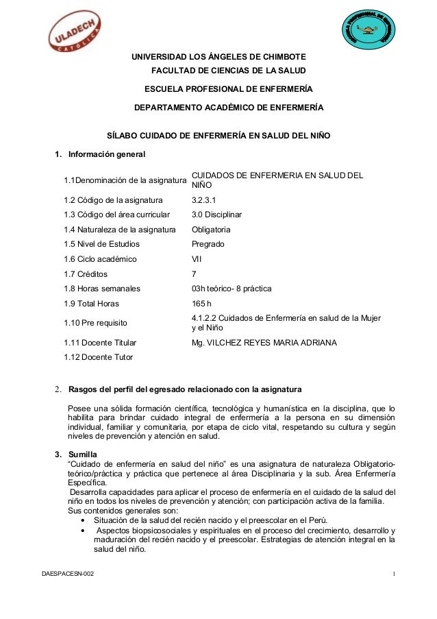 UNIVERSIDAD LOS ÁNGELES DE CHIMBOTE FACULTAD DE CIENCIAS DE LA SALUD ESCUELA PROFESIONAL DE ENFERMERÍA DEPARTAMENTO ACADÉM...