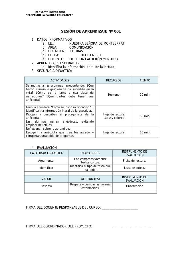 """PROYECTO INTEGRADOR""""ELEVANDO LA CALIDAD EDUCATIVA""""                         SESIÓN DE APRENDIZAJE Nº 001    1. DATOS INFORM..."""