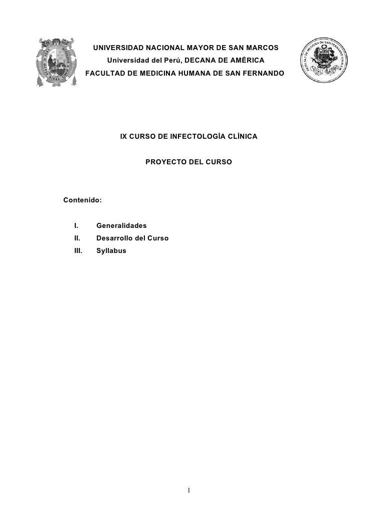 UNIVERSIDAD NACIONAL MAYOR DE SAN MARCOS             Universidad del Perú, DECANA DE AMÉRICA         FACULTAD DE MEDICINA ...