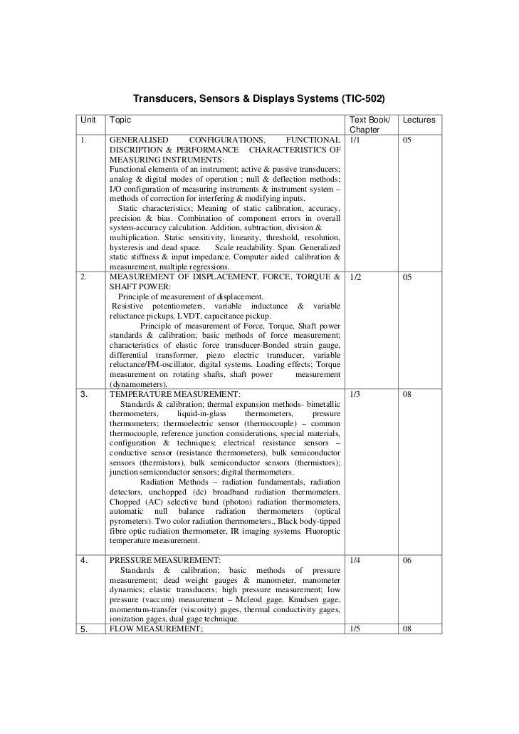 Transducers, Sensors & Displays Systems (TIC-502)Unit   Topic                                                             ...
