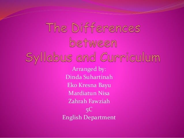 the differences between syllabus and curriculum