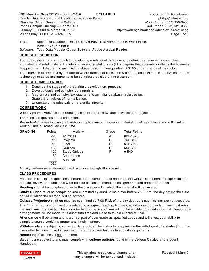 CIS164AG – Class 28128 – Spring 2010            SYLLABUS                      Instructor: Phillip Jalowiec Oracle: Data Mo...