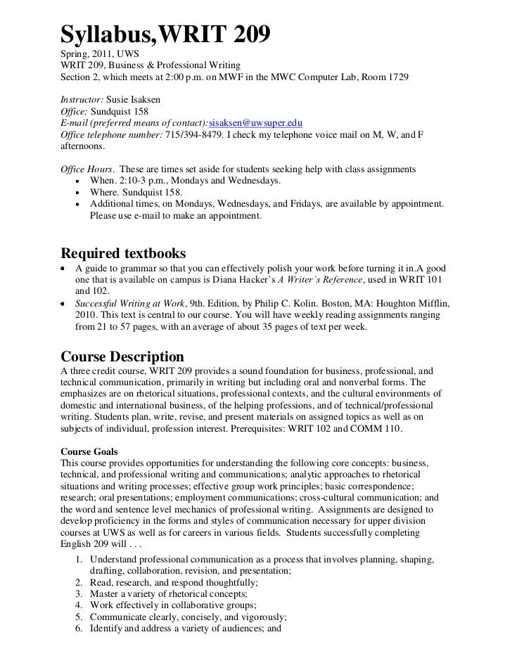 Syllabus, WRIT 209 <br />Spring, 2011, UWS<br />WRIT 209, Business & Professional Writing<br />Section 2, which meets at 2...