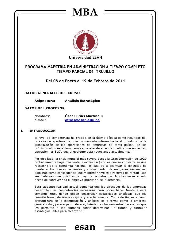 MBA                                Universidad ESAN     PROGRAMA MAESTRÍA EN ADMINISTRACIÓN A TIEMPO COMPLETO             ...