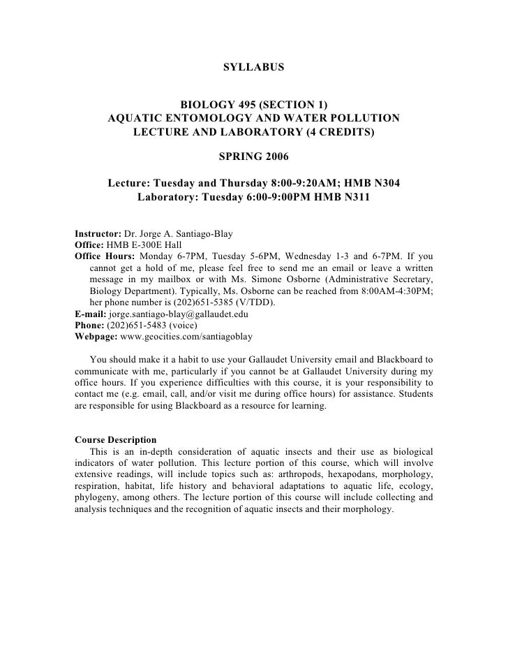 SYLLABUS                     BIOLOGY 495 (SECTION 1)         AQUATIC ENTOMOLOGY AND WATER POLLUTION            LECTURE AND...