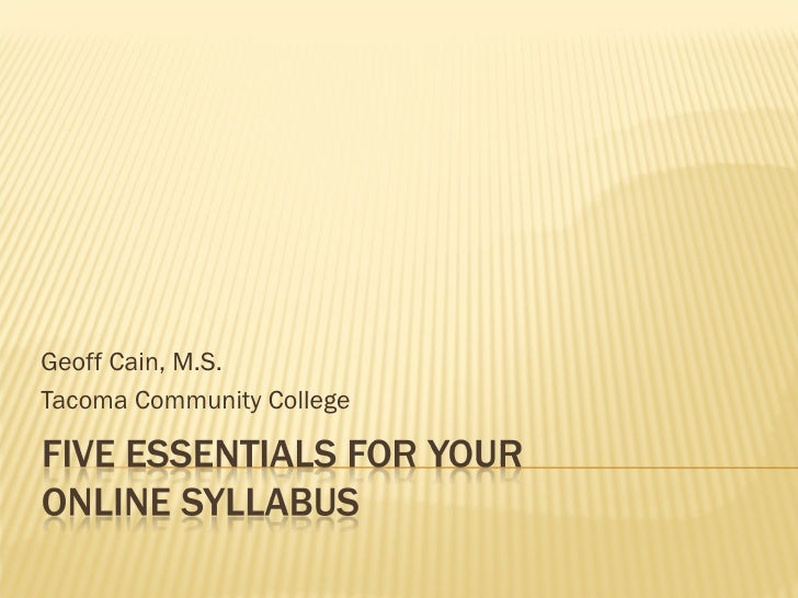 Five Essentials for the Online Syllabus