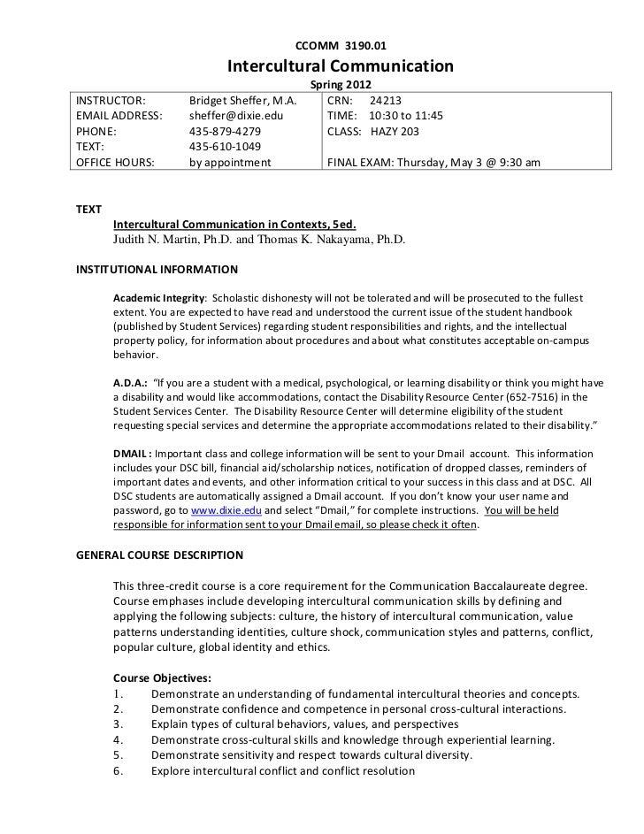 CCOMM 3190.01                               Intercultural Communication                                                 Sp...