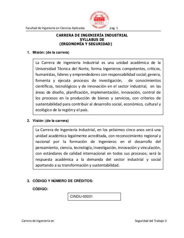 Facultad de Ingeniería en Ciencias Aplicadas pag. 1 Error! AutoText entry not defined. Seguridad del Trabajo IICarrera de ...