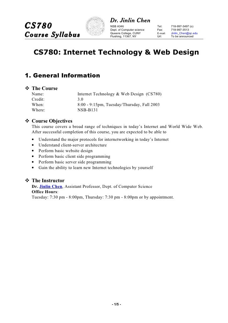Dr. Jinlin Chen CS780                                       NSB A346                                             Dept. of ...