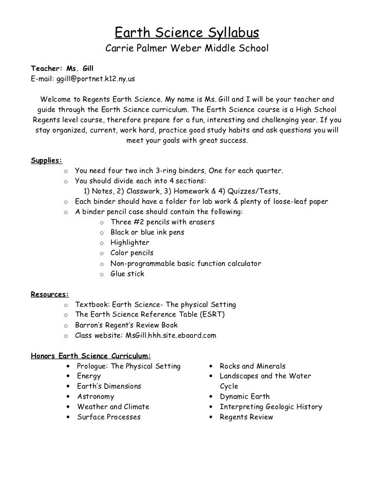 Earth Science Syllabus                       Carrie Palmer Weber Middle SchoolTeacher: Ms. GillE-mail: ggill@portnet.k12.n...