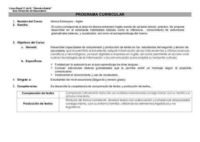 "Liceo Naval C. de N. ""Germán Astete"" Sub. Dirección de Secundaria PROGRAMA CURRICULAR 1. Nombre del Curso: Idioma Extranje..."