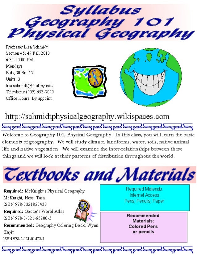 Syllabus geog 101 m fall 2013 s
