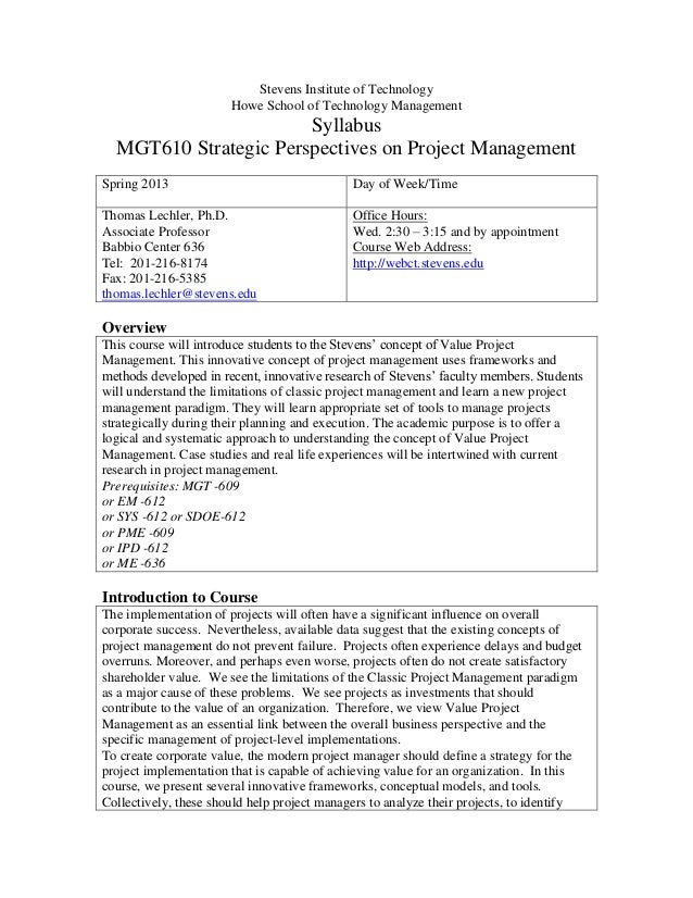 Stevens Institute of TechnologyHowe School of Technology ManagementSyllabusMGT610 Strategic Perspectives on Project Manage...