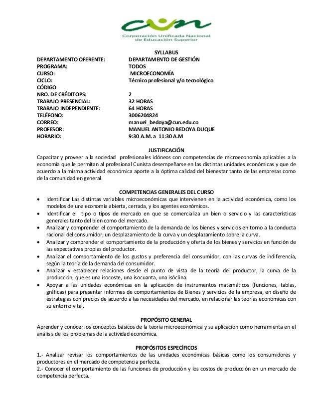 SYLLABUSDEPARTAMENTO OFERENTE:                 DEPARTAMENTO DE GESTIÓNPROGRAMA:                              TODOSCURSO:  ...