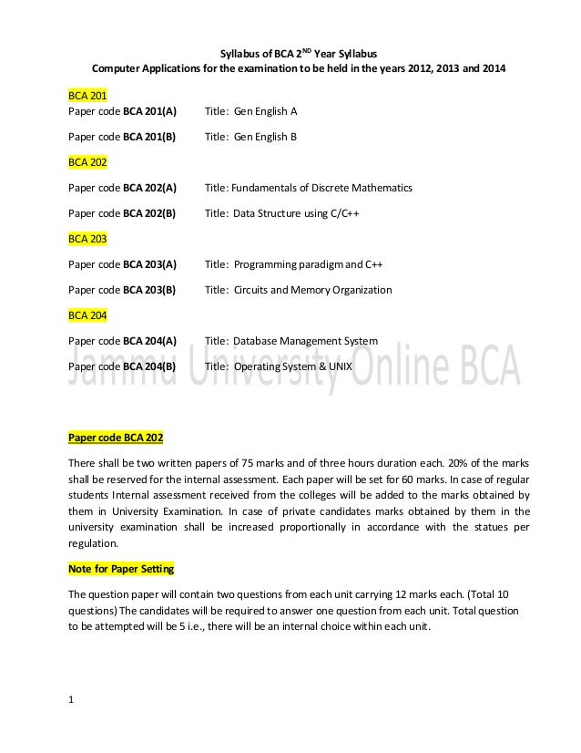 1 Syllabus of BCA 2ND Year Syllabus Computer Applications for the examination to be held in the years 2012, 2013 and 2014 ...