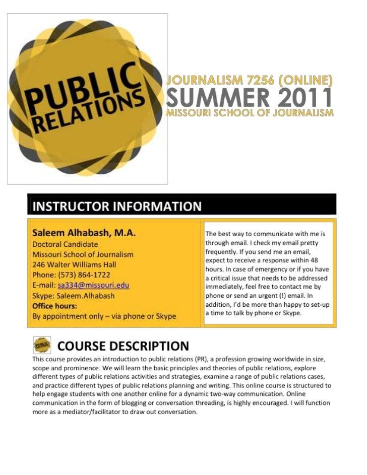 PR Syllabus Summer 2011