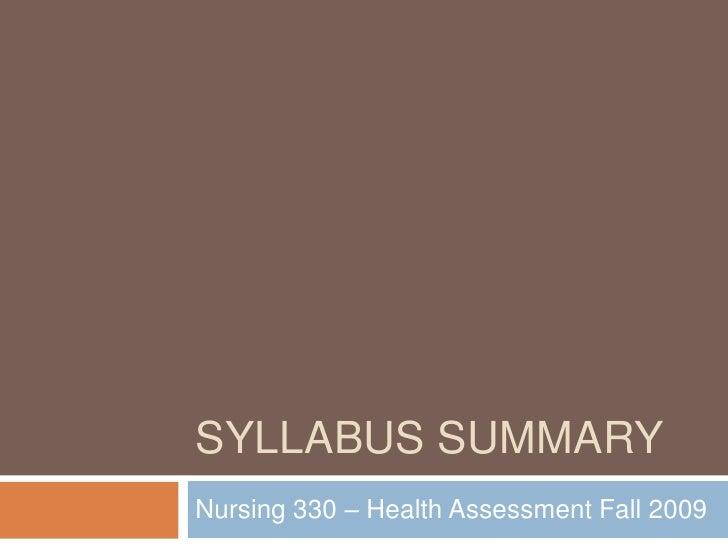 Syllabus Summary.F.09