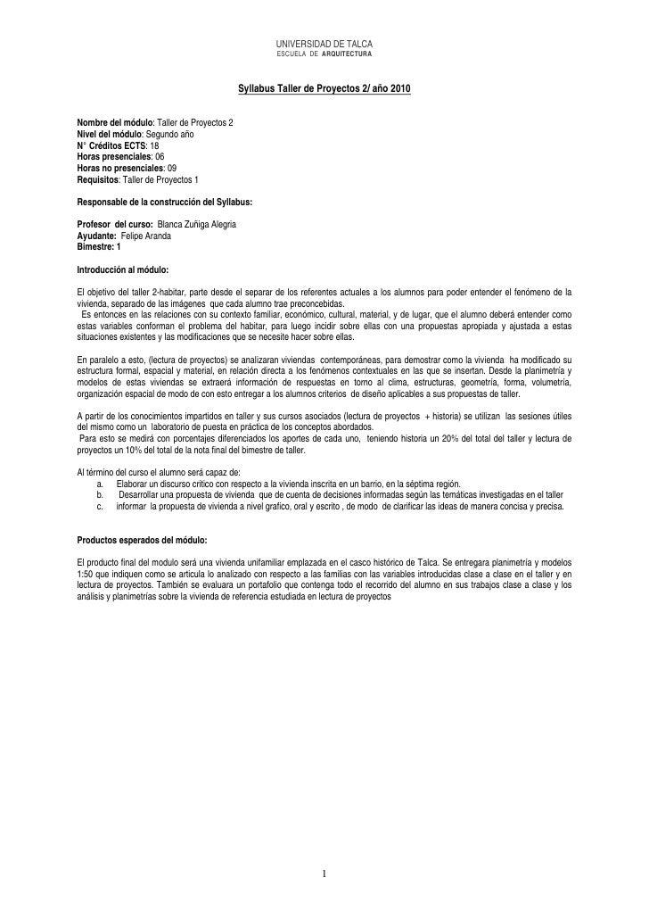 UNIVERSIDAD DE TALCA                                                         ESCUELA DE ARQUITECTURA                      ...