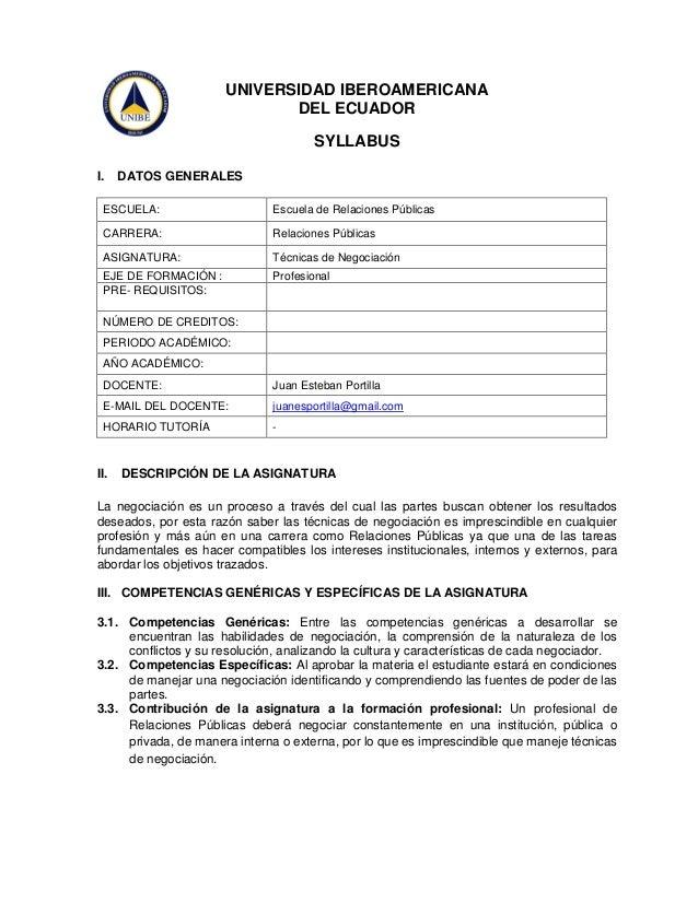 UNIVERSIDAD IBEROAMERICANA DEL ECUADOR SYLLABUS I.  DATOS GENERALES  ESCUELA:  Escuela de Relaciones Públicas  CARRERA:  R...