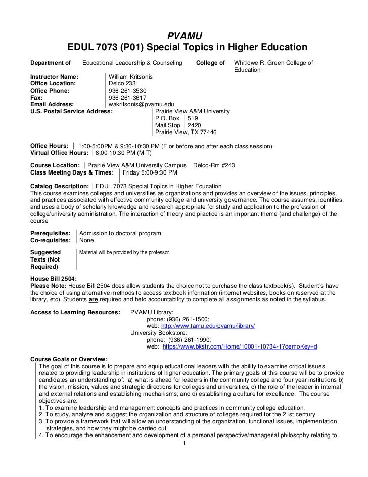 Syllabus template edul 7073 special topics in higher education, summer 2011