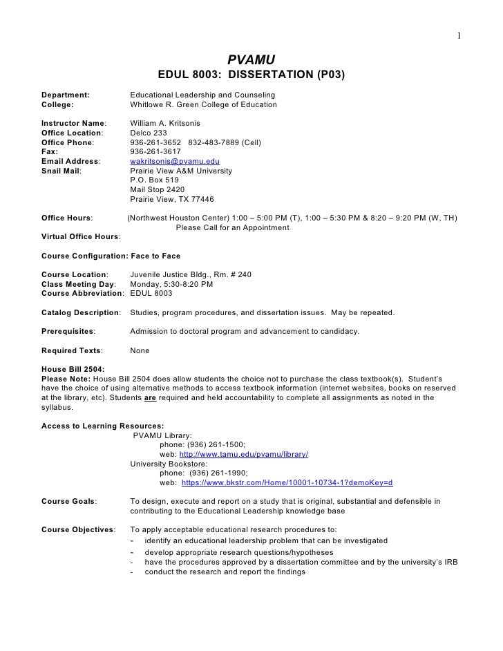 Syllabus template edul8003 (p03) dissertation, fall 2011