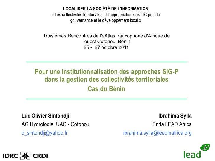 Pour une institutionnalisation des SIG P dans la gestion des collectivités béninoises