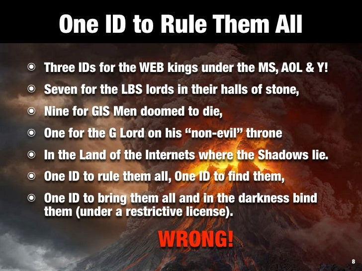 One ID to Rule Them All ๏ Three IDs for the WEB kings under the MS, AOL & Y! ๏ Seven for the LBS lords in their halls of s...
