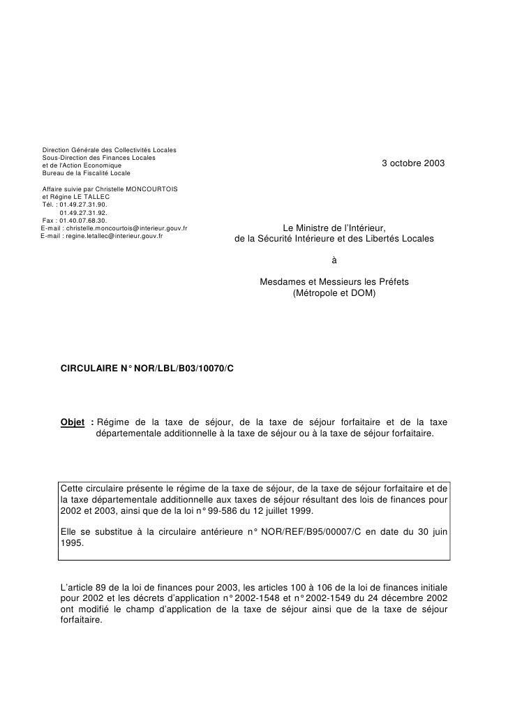Sylvain Pechcontal - Circulaire Taxe de séjour - Formation MOPA CNFPT…