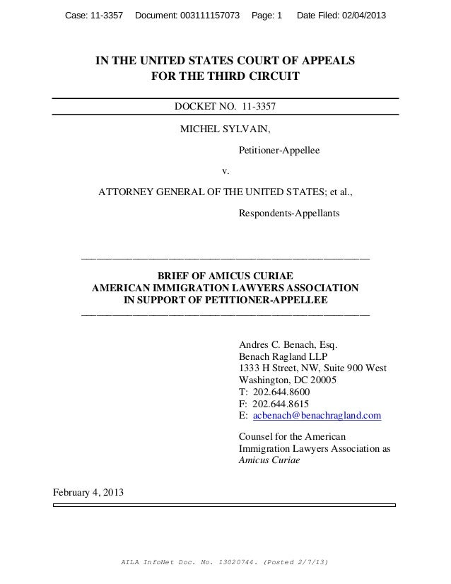 Sylvain vs. AG USA - 3rd Circuit - Attorney Andres Benach's Amici Legal Brief on behalf of AILA on 'Mandatory Detention' due to Criminal Conviction of Aliens