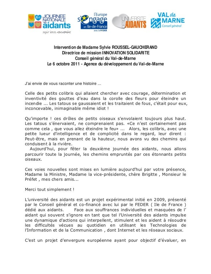 Intervention de Madame Sylvie ROUSSEL-GAUCHERAND                    Directrice de mission INNOVATION SOLIDARITE           ...