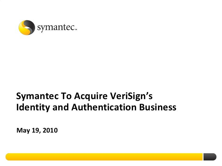 Symantec Acquires VeriSign Security Business