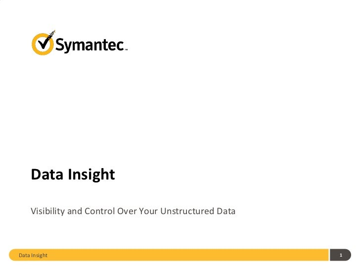 Symantec Data Insight for Storage