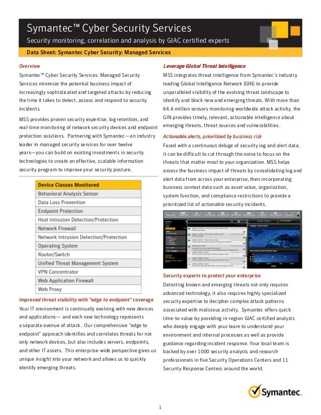 DATASHEET ▶ Symantec Cyber Security Services: Security monitoring, correlation and analysis by GIAC certified experts