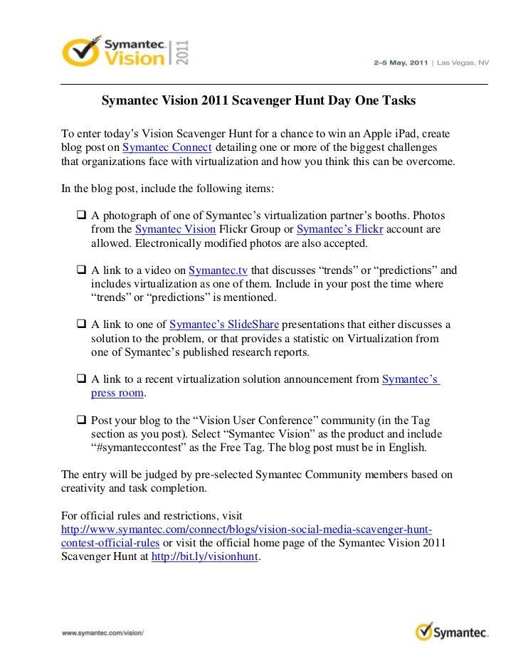 Symantec Vision 2011 Scavenger Hunt Day One Tasks