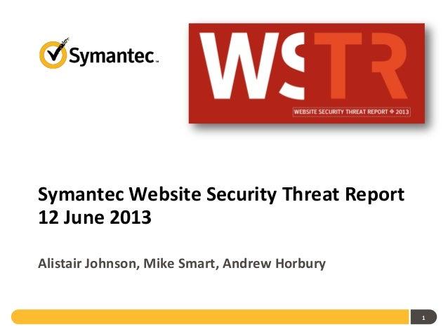 Symantec Website Security Threat Report12 June 2013Alistair Johnson, Mike Smart, Andrew Horbury1