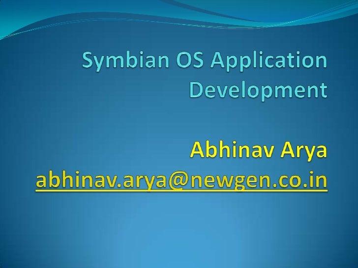 Symbian OS Application Development