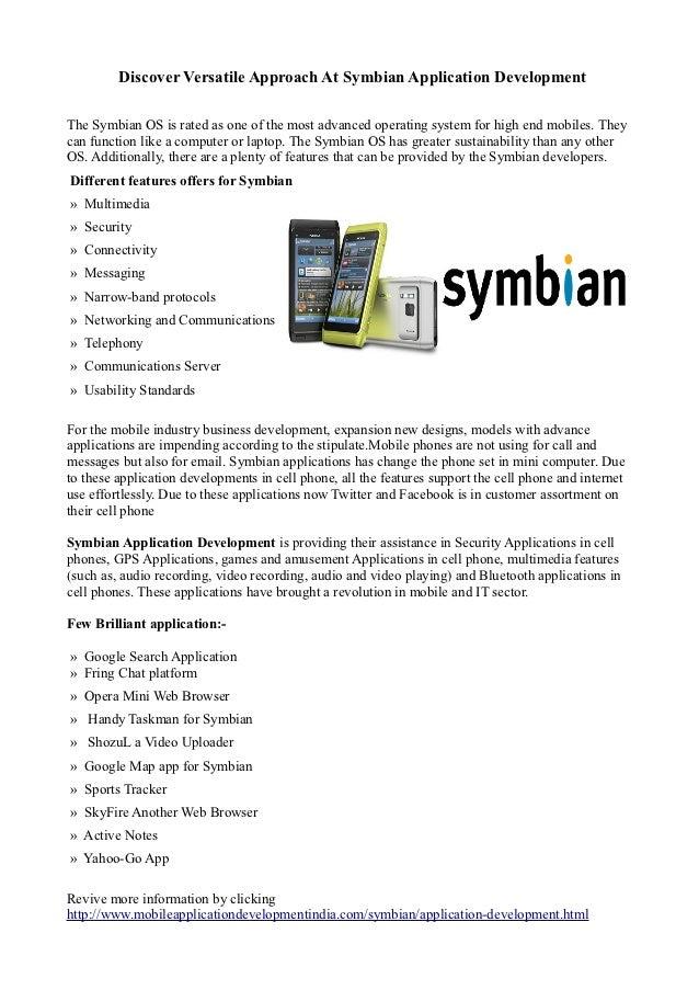 Discover Versatile Approach At Symbian Application Development