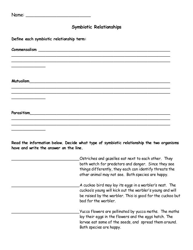 Symbiotic Relationships Worksheet High School Worksheet – Symbiosis Worksheet