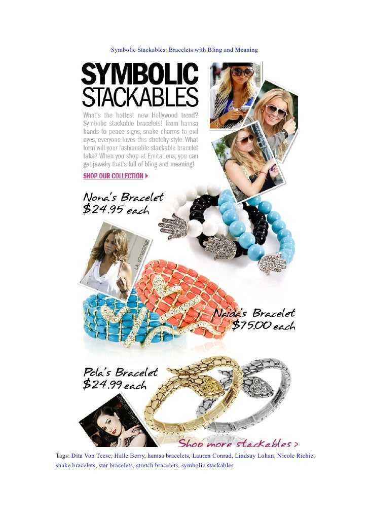 Symbolic Stackables: Bracelets with Bling and Meaning     Tags: Dita Von Teese, Halle Berry, hamsa bracelets, Lauren Conra...