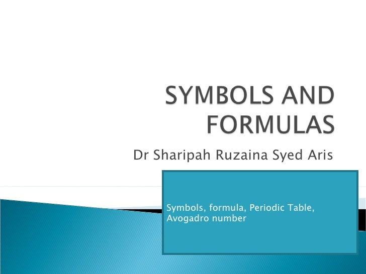 Dr Sharipah Ruzaina Syed Aris Symbols, formula, Periodic Table, Avogadro number