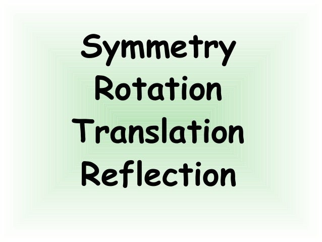 Symmetry Rotation Translation Reflection