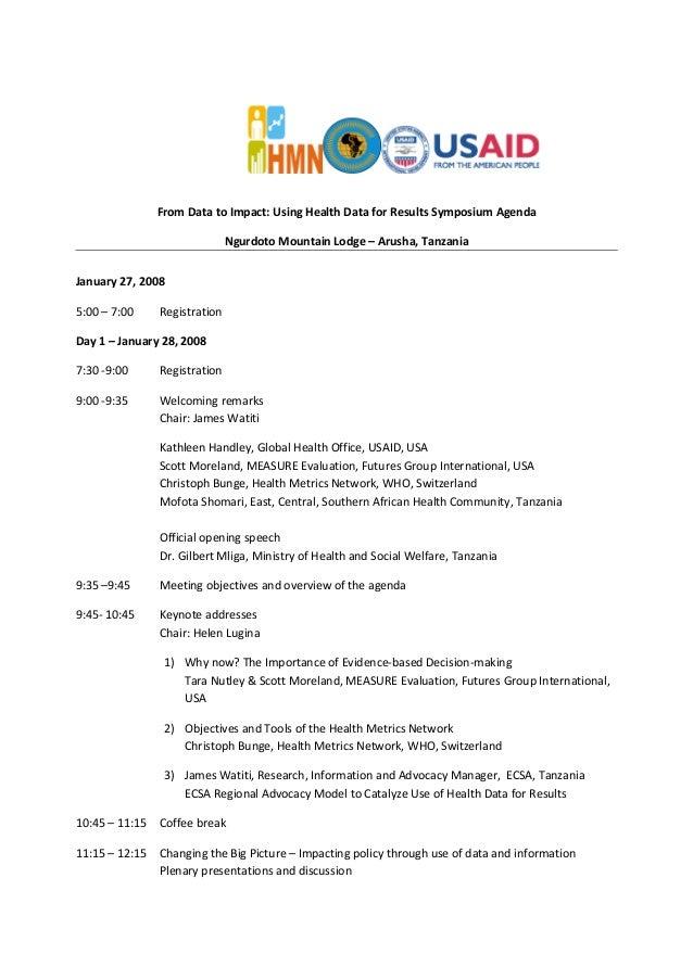 From Data to Impact: Using Health Data for Results Symposium Agenda Ngurdoto Mountain Lodge – Arusha, Tanzania January 27,...