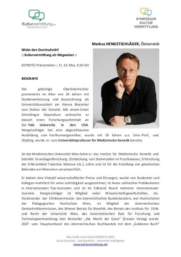 Markus Hengstschläger Bio + Abstract