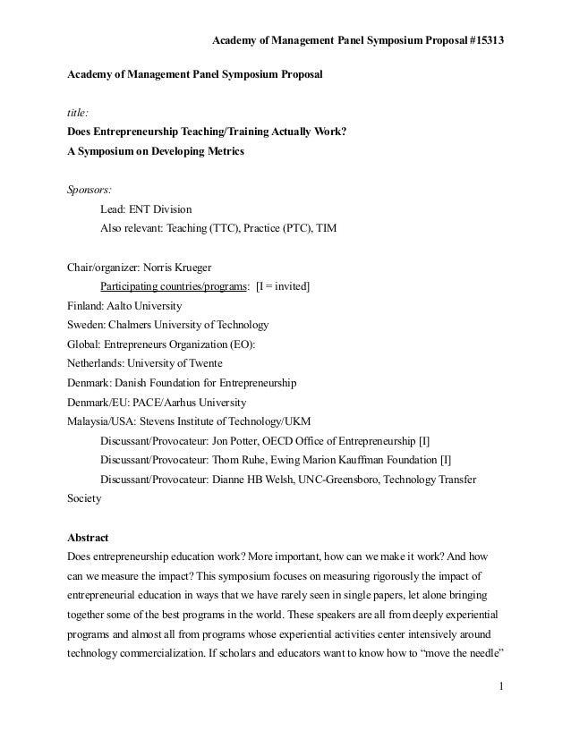 Academy of Management Panel Symposium Proposal #15313Academy of Management Panel Symposium Proposaltitle:Does Entrepreneur...
