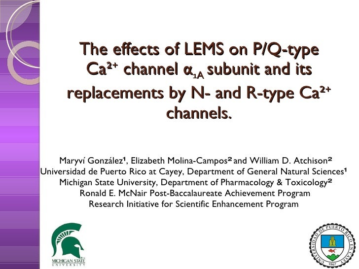 Effects of LEMS on P/Q type Calcium Channels