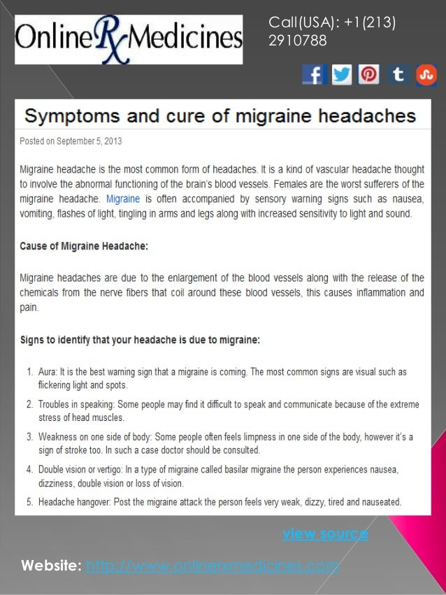 Symptoms and cure of migraine headaches